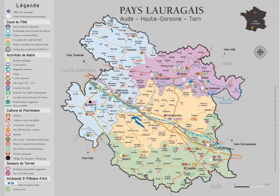 Mapa turístico de Pays Lauragais